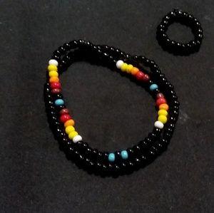 SET 2 Native American Indian beaded bracelets, rin